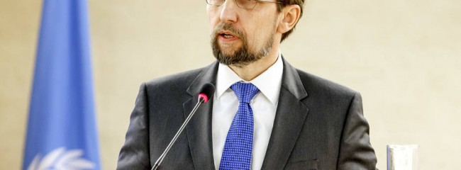 "FILE - In this Feb. 27, 2017 file photo, U.N. High Commissioner for Human Rights, Jordan's Zeid Ra'ad al Hussein, delivers his statement  at the Human Rights Council,  in Geneva, Switzerland. The U.N. human rights chief says Wednesday, March 8, 2017  he is ""dismayed"" by U.S. President Donald Trump's attempts to ""intimidate or undermine"" journalists and judges, and is concerned about the impact of Trump's order banning U.S. entry to people of six mostly Muslim countries. (Salvatore Di Nolfi/Keystone via AP.file)"